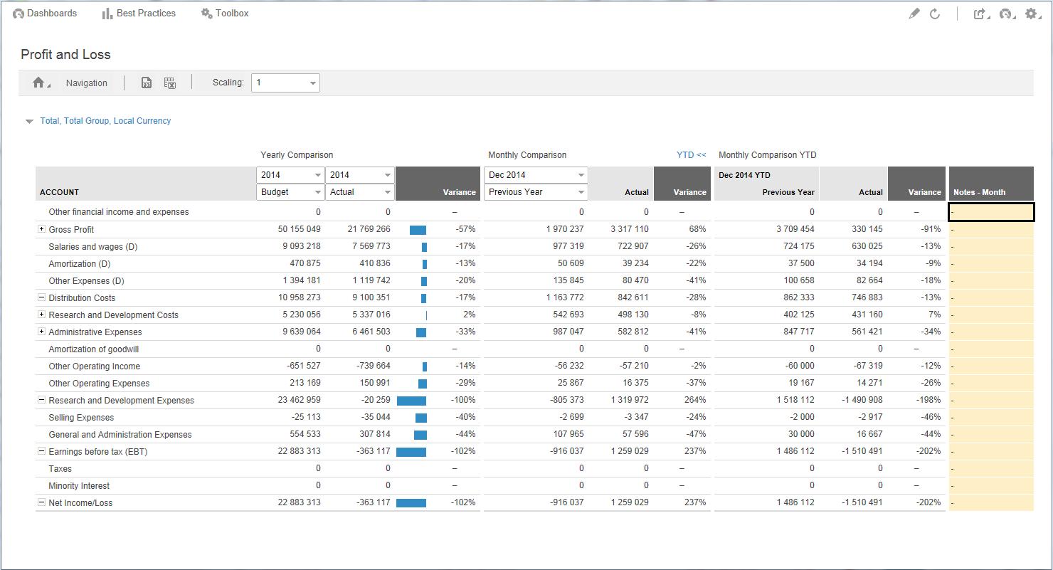 SunSystems Management reporting printscreen 4